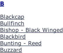 B  Blackcap Bullfinch Bishop - Black Winged Blackbird Bunting - Reed Buzzard